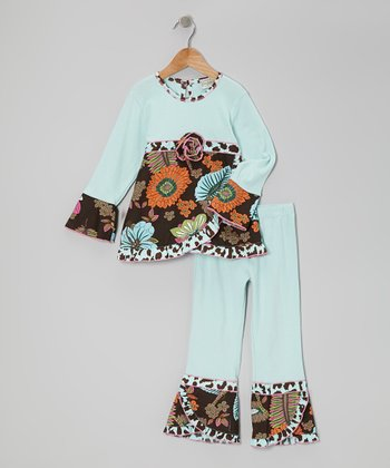 Blue & Brown Leaf Tunic & Ruffle Pants - Toddler & Girls