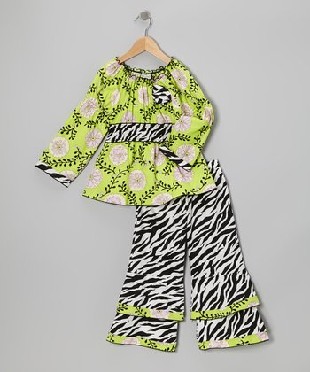 Green & Black Gia Tunic & Zebra Ruffle Pants - Toddler & Girls
