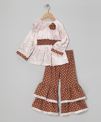 Pink & Brown Tilly Tunic & Ruffle Pants - Toddler & Girls