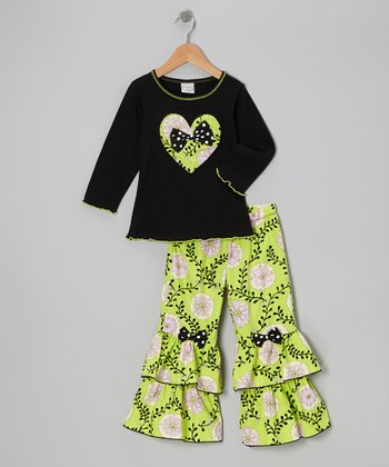 Green & Black Nora Tee & Ruffle Pants - Toddler & Girls