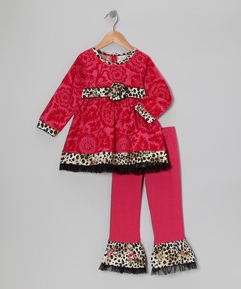 Pink Leopard Blush Tunic & Ruffle Pants - Toddler & Girls