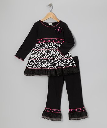 Black & Pink Zebra Swirl Tunic & Ruffle Pants - Toddler & Girls