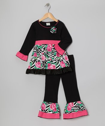 Pink & Black Zena Tunic & Ruffle Pants - Toddler & Girls