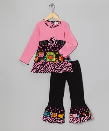 Pink & Black Patty Tunic & Ruffle Pants - Toddler & Girls