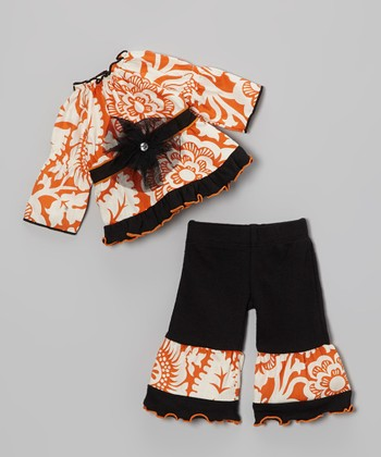 Orange & Black Blossom Doll Outfit