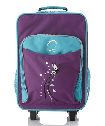 Turquoise Butterfly All-in-One Wheeled Suitcase