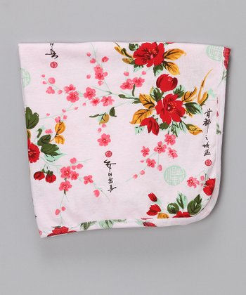 Pink Vintage Asian Floral Organic Receiving Blanket