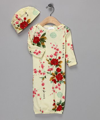 Yellow Vintage Floral Gown & Beanie - Infant