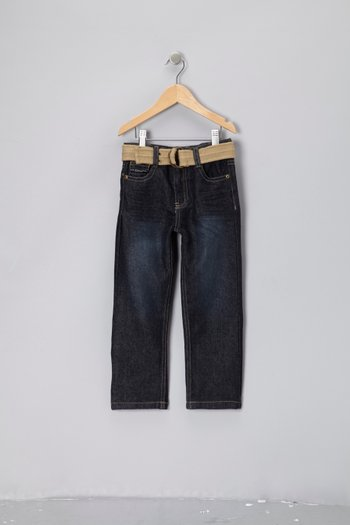 Blue Wash Belted Straight-Leg Jeans - Toddler