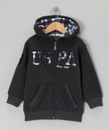 Dark Gray 'USPA' Zip-Up Hoodie - Boys