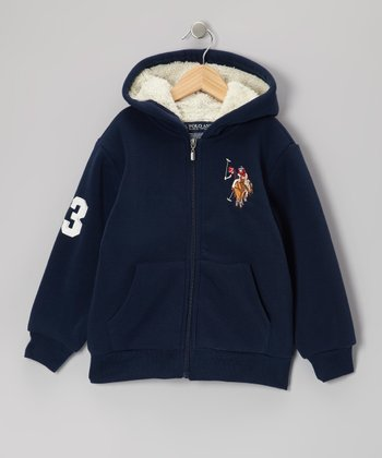 Navy & White Sherpa Zip-Up Hoodie - Boys