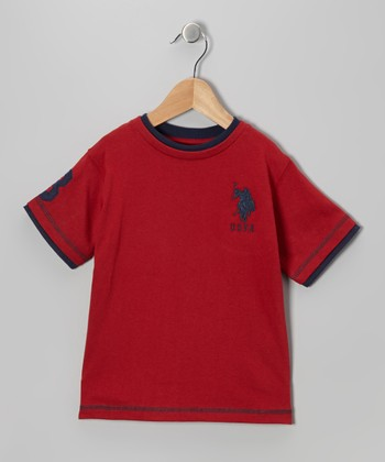 Barn Red & Navy 'USPA' Tee - Toddler & Boys