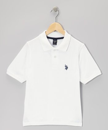 White & Navy Polo - Boys