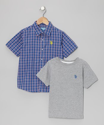 Cobalt Plaid Button-Up & Gray Tee - Toddler