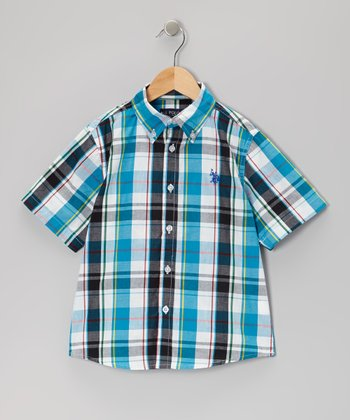 Blue & White Plaid Button-Up - Boys