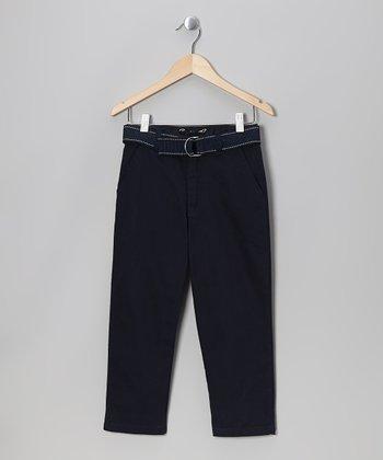 Eddie Bauer Navy Belted Twill Pants - Boys