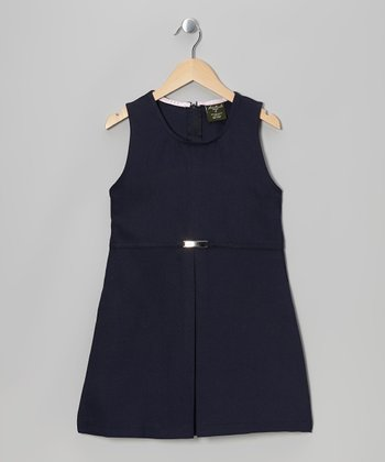 Navy Belted Dress - Girls