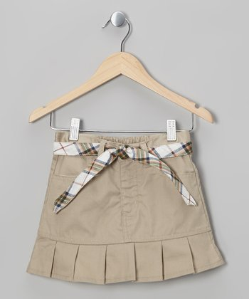 Khaki Plaid Belted Pleated Skirt - Girls