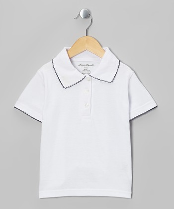 White & Black Scallop-Trim Polo - Girls