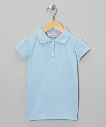 Eddie Bauer Blue Cap-Sleeve Polo - Girls