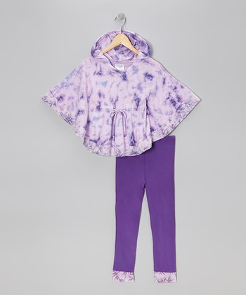 Eggplant Tie-Dye Cape-Sleeve Tunic & Leggings - Toddler & Girls