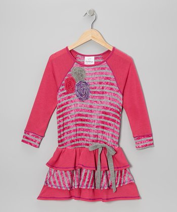 Fuchsia Stripe Tier Ruffle Dress - Toddler & Girls