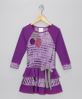 Purple Stripe Tier Ruffle Dress - Toddler & Girls