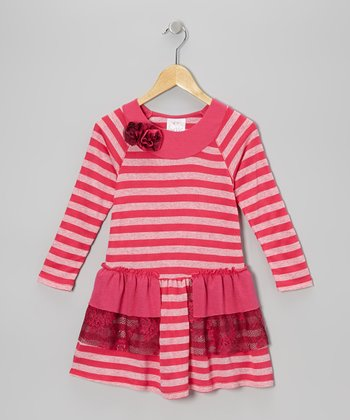 Fuchsia Stripe Ruffle Dress - Toddler & Girls