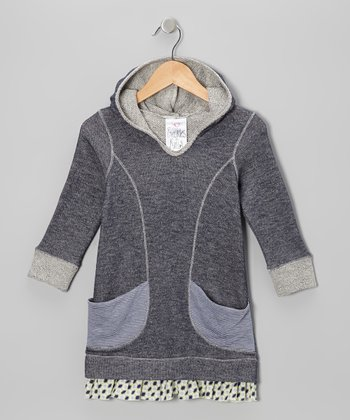 Navy Stripe Pocket Hoodie Dress - Toddler & Girls