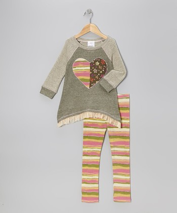 Olive Heart Tunic & Pink Stripe Leggings - Toddler & Girls