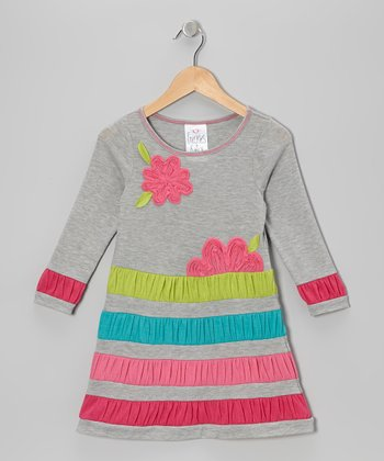 Gray Flower Shirred Stripe Dress - Girls