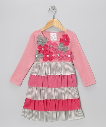 Pink Flower Stripe Tier Ruffle Dress - Toddler