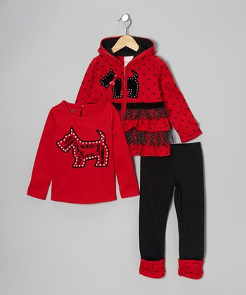 Red Scotty Zip-Up Hoodie Set - Toddler & Girls