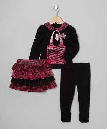 Black & Pink Ruffle Tiered Skirt Set - Toddler & Girls
