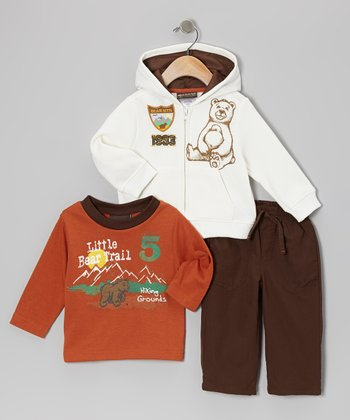 Orange Bear Trail Zip-Up Hoodie Set - Infant