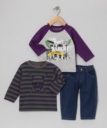 Purple 'Punk Rocker' Raglan Tee Set - Infant & Toddler