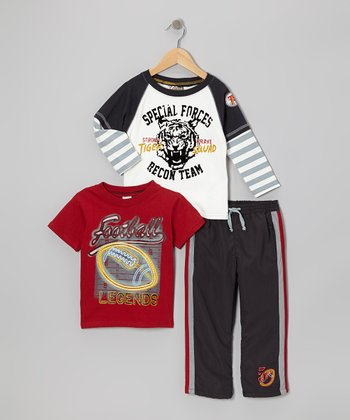 White 'Special Forces' Layered Tee Set - Infant & Toddler