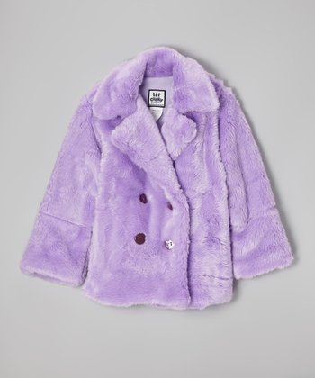 Lavender Faux Fur Peacoat - Girls