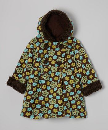 Brown Tiny Flower Mary Jayne Coat - Infant, Toddler & Girls
