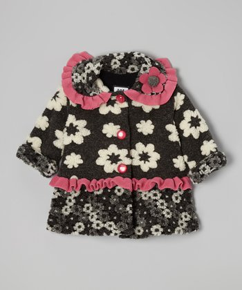 Black Flower Sweet Peacoat - Toddler & Girls