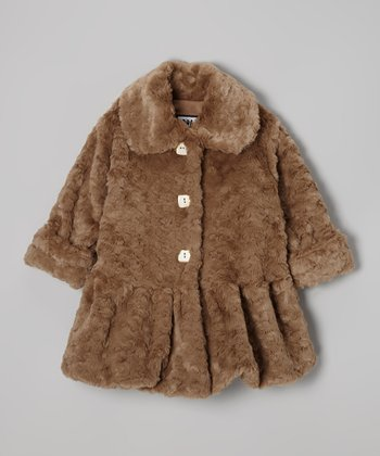 Taupe Faux Fur Sweet Pea Skirted Coat - Infant, Toddler & Girls