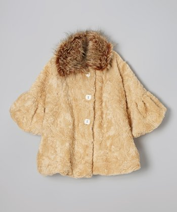 Beige Faux Fur Sweet Pea Coat - Infant, Toddler & Girls