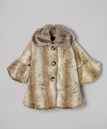 Gray & Tan Faux Fur Sweet Pea Coat - Infant & Girls