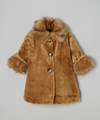 Caramel Faux Fur Sweet Pea Coat - Toddler & Girls