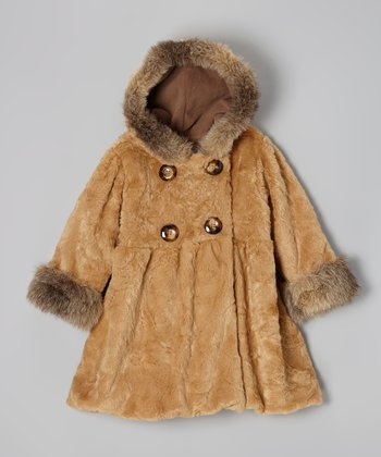 Caramel Faux Fur Mary Jayne Coat - Infant, Toddler & Girls