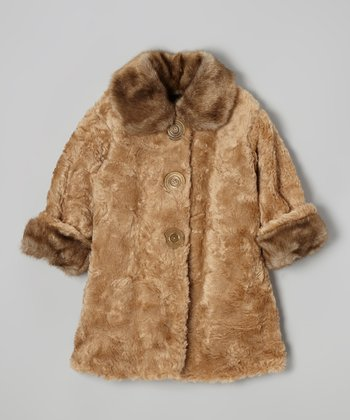 Cappuccino Faux Fur Sweet Pea Coat - Toddler & Girls