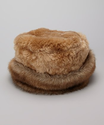 Cappuccino Crushed Faux Fur Roll Brim Hat