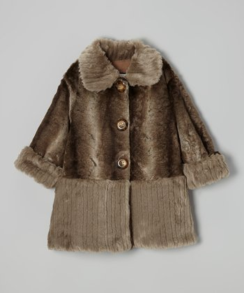 Brown & Gray Faux Fur Sweet Pea Coat - Toddler & Girls