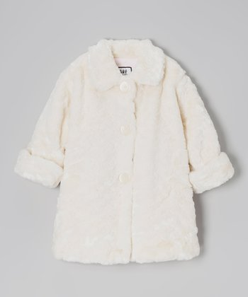 Cream Pelted Faux Fur Sweet Pea Coat - Infant