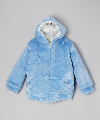 Blue Faux Fur Zip-Up Hoodie - Girls